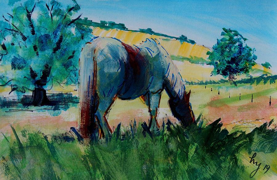 Horse grazing in Devon landscape en plein air painting by Mike Jory