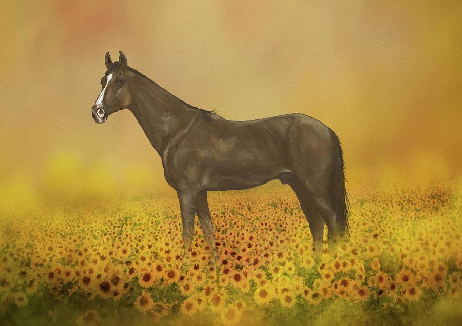 Design Mixed Media - Horse In Sunflower Field by Amanda Lakey