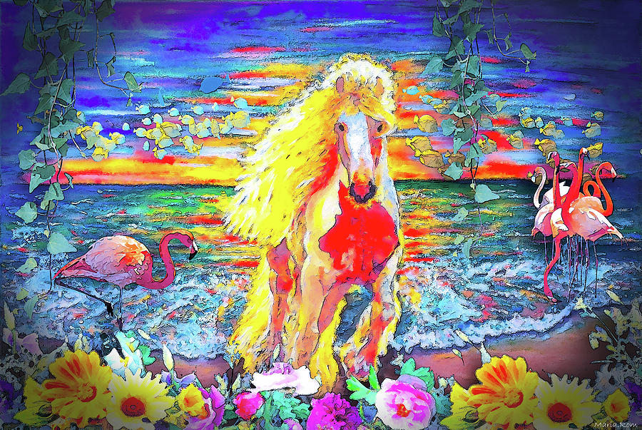 Horse In the beach and underwater by MARIA ROM