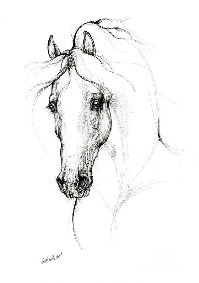 Horse ink art 2019 09 11 by Angel Ciesniarska