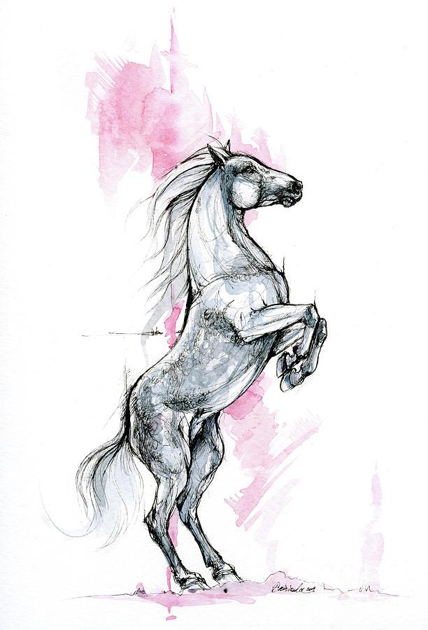 Horse ink art 2019 09 12 by Angel Ciesniarska