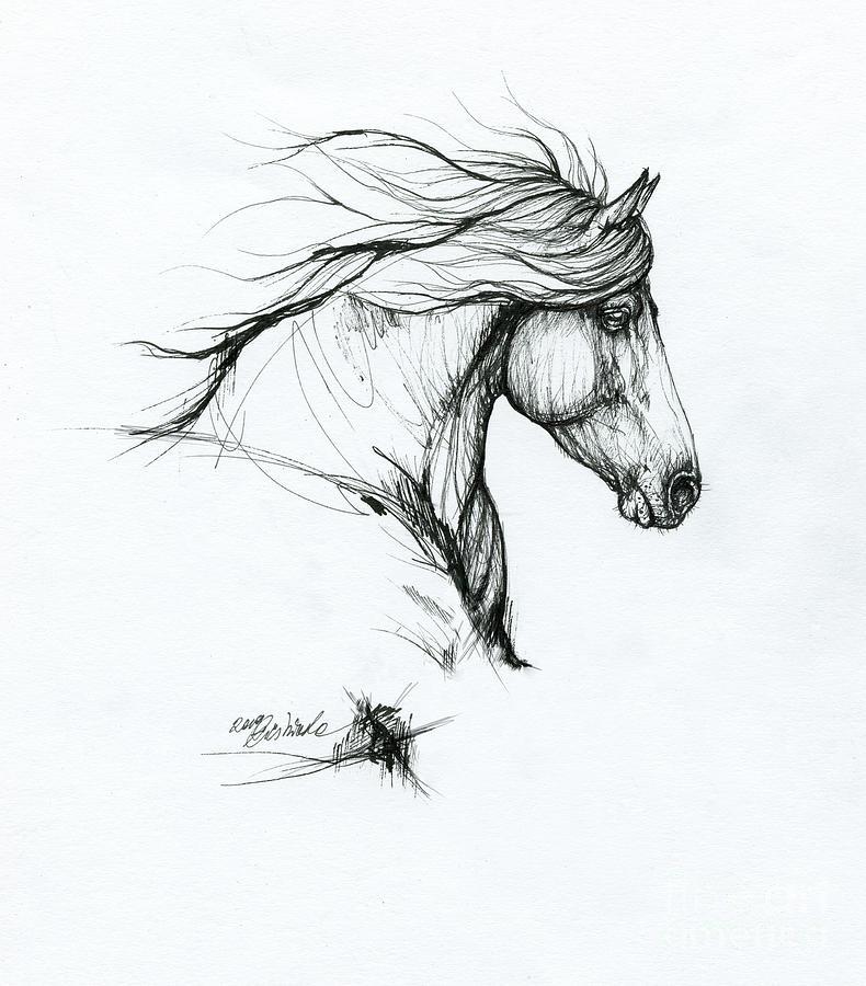 Horse ink art 2019 09 31 by Angel Ciesniarska