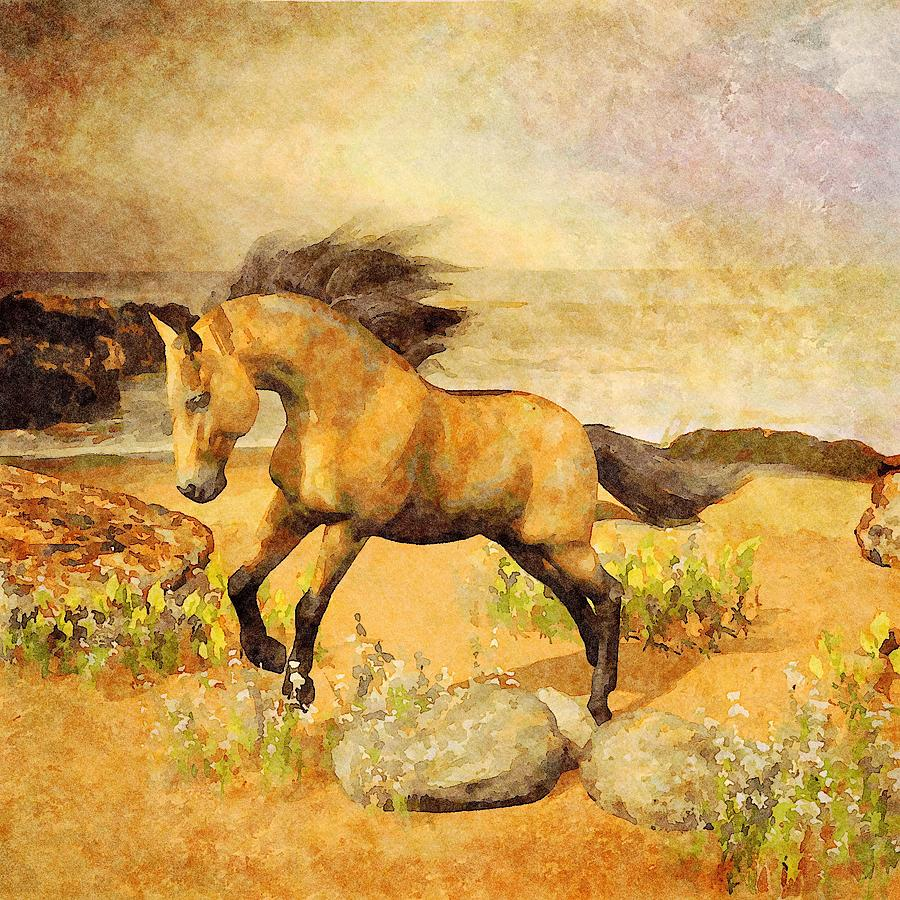 Horse on Beach by Judi Suni Hall