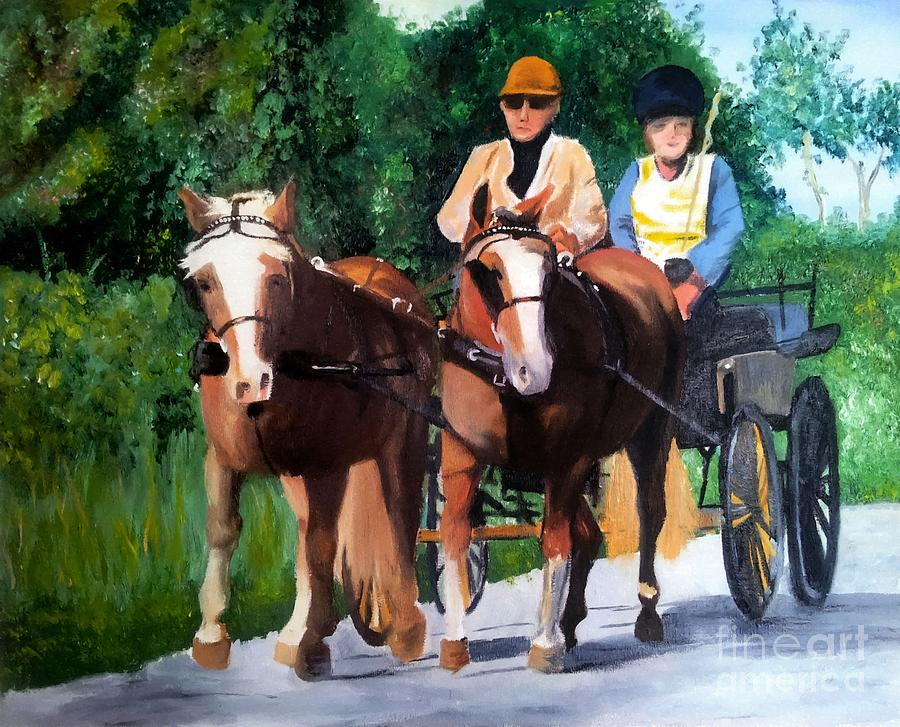 Horses and Carriage in oils by Abbie Shores