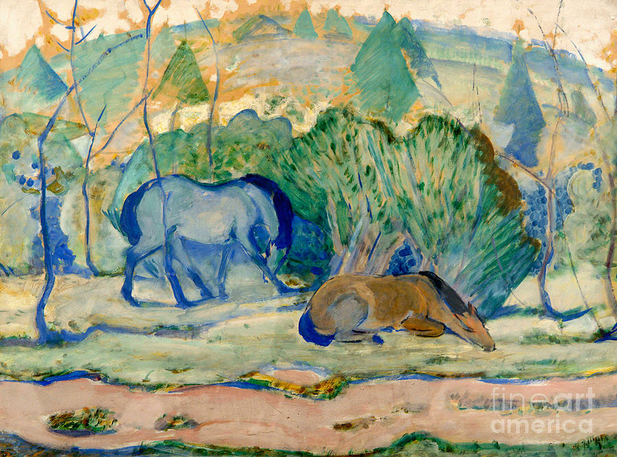 Horses At Pasture Horses Drawing by Heritage Images