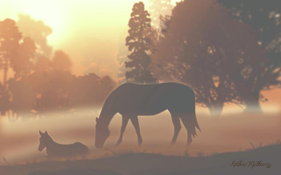 Horses in the Morning Fog by Kathie Miller
