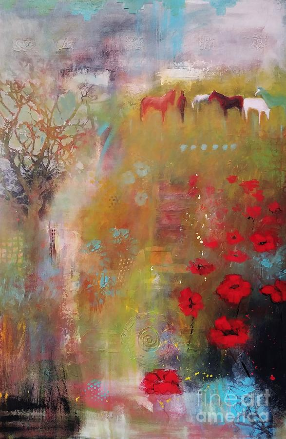 Horses In The Upper Pasture by Frances Marino