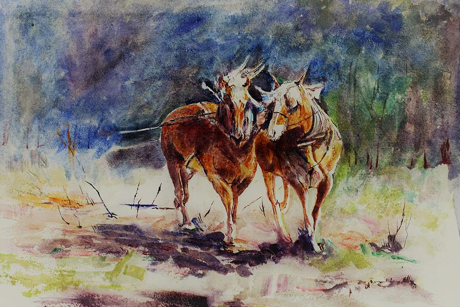 Horse Painting - Horses On Work by Khalid Saeed