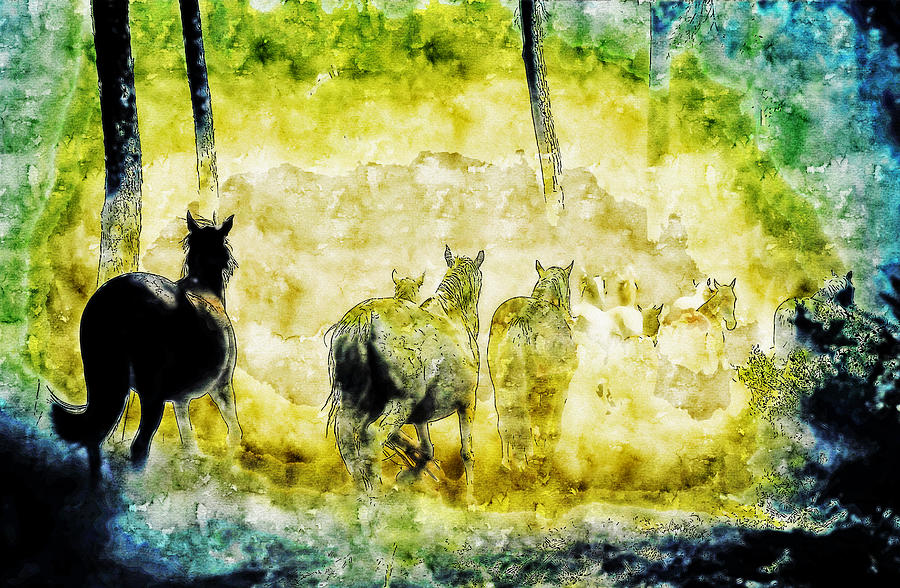 Horses Running watercolor drawing by Hasan Ahmed