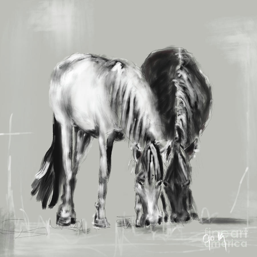 Horses together black and white pair by Go Van Kampen