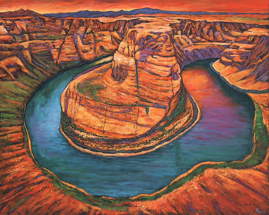 Arizona Painting - Horseshoe Bend Sunset by Johnathan Harris