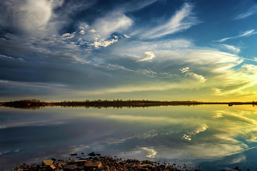 Horseshoe Lake Sunset Reflection IL-DSC2640-01062019  by Greg Kluempers