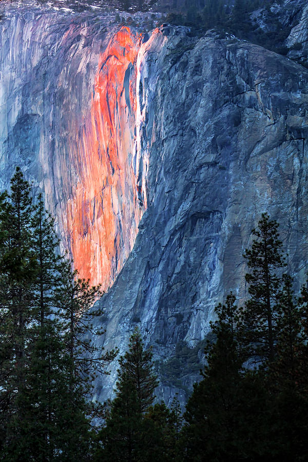 Horsetail Falls Aglow  by Harriet Feagin
