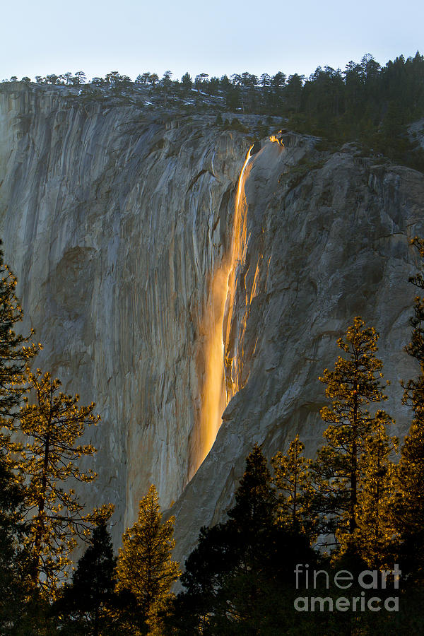Horsetail Falls Photograph - Horsetail Falls In Yosemite Illuminated by Peggy Sells