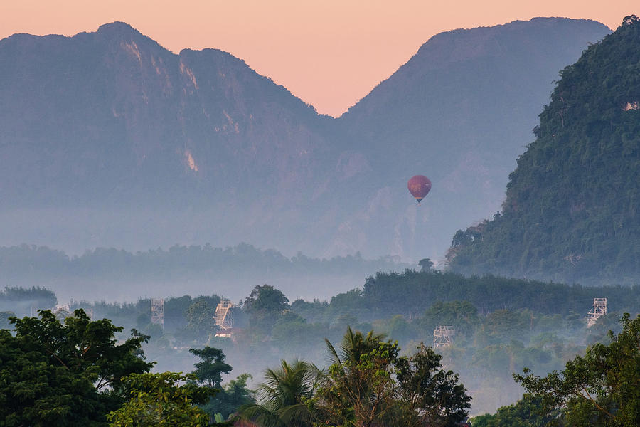 Hot Air Ballon in Laos by Nicole Young