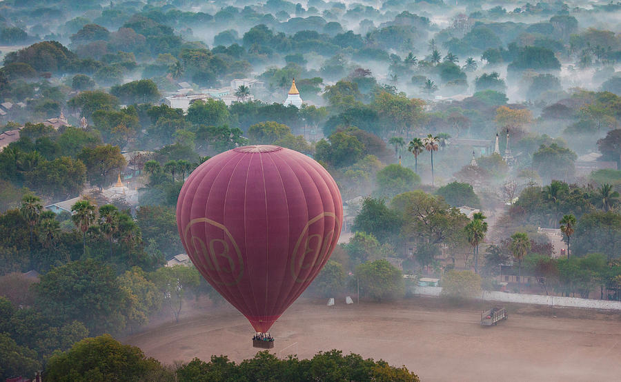 Hot-air Balloon, Bagan, Myanmar Photograph by Mint Images/ Art Wolfe