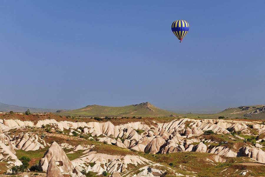 Hot Air Balloon Flying Over Landscape Photograph by Dan Wiklund