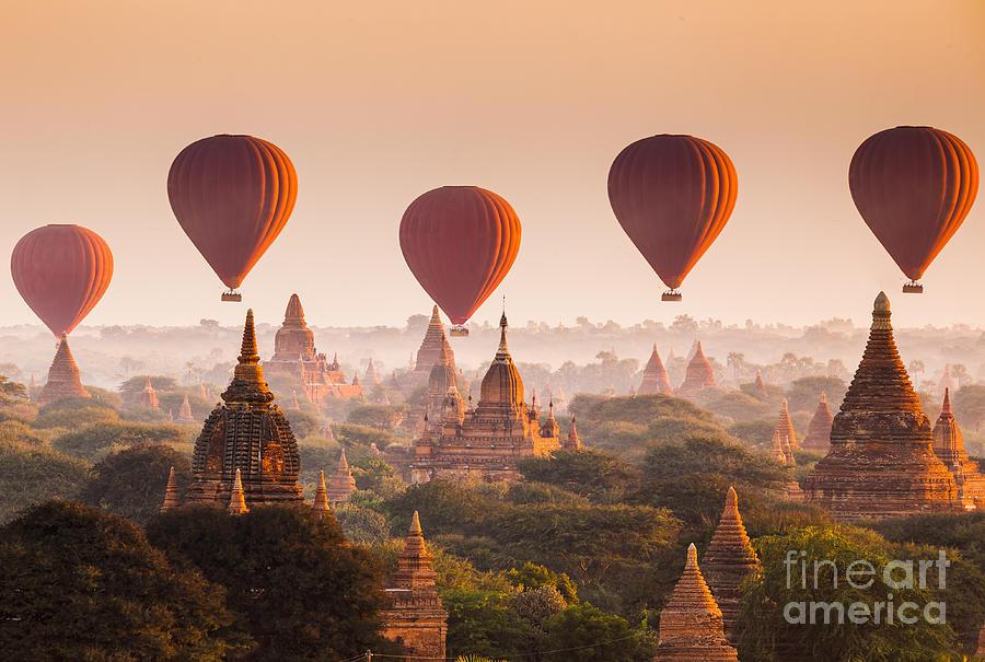Dusk Photograph - Hot Air Balloon Over Plain Of Bagan At by Lkunl