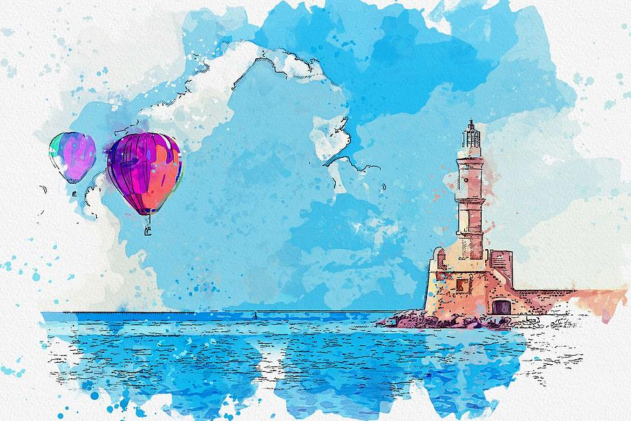 Hot Air Balloon Ride Over Lighthouse Watercolor By Ahmet Asar