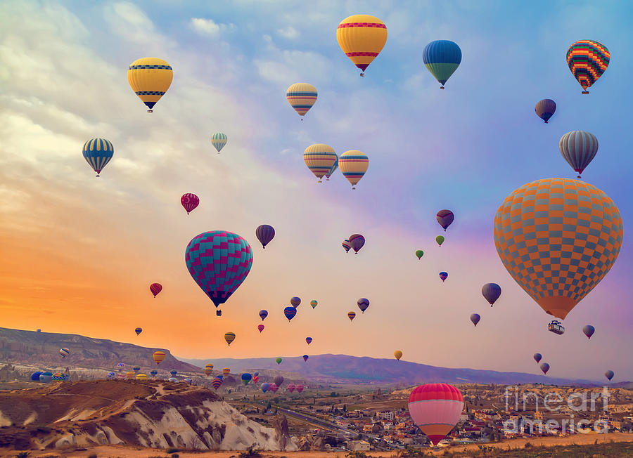 Heat Photograph - Hot Air Balloons Flying Over Mountains by Vladyslav Danilin