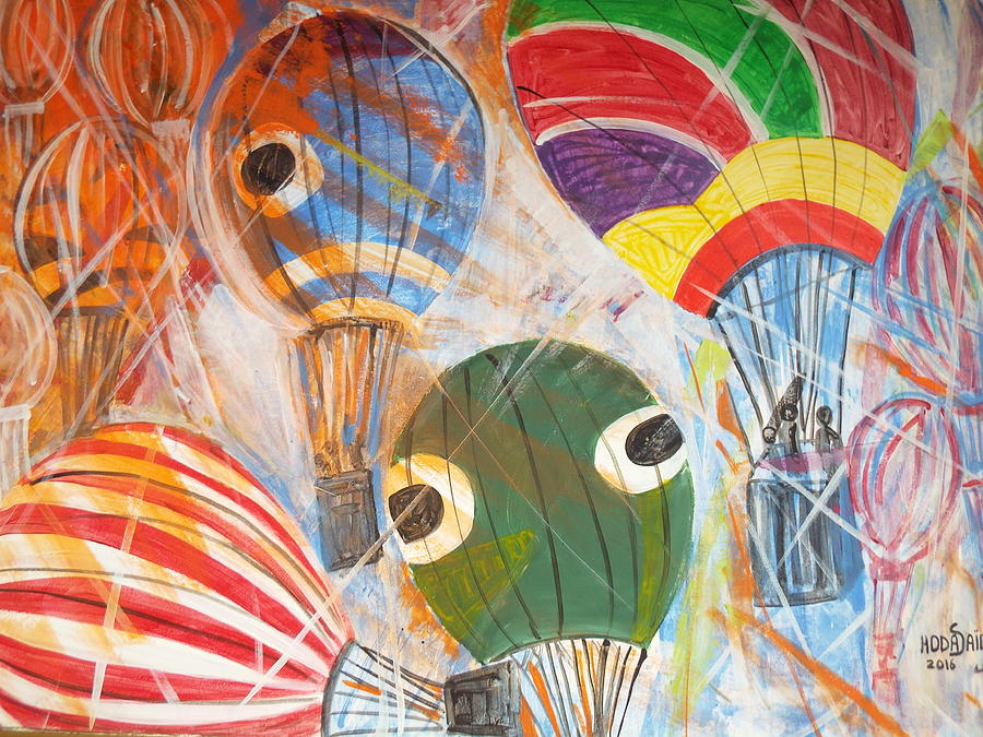 Balloon Painting - Hot air balloons by Hoda Said Ibrahim
