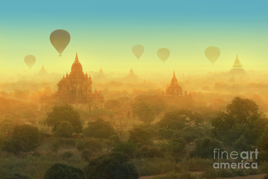 Hot Air Balloons In Bagan Photograph by Ugurhan
