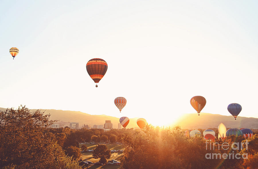 Basket Photograph - Hot Air Balloons In The Sky During by Annette Shaff