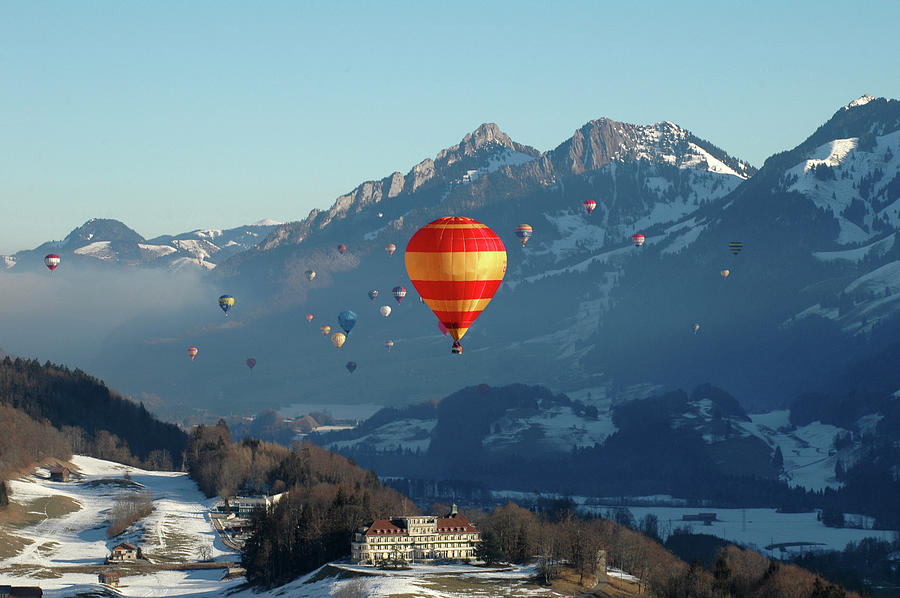 Hot Air Balloons Swiss Alps Photograph by Stevenallan