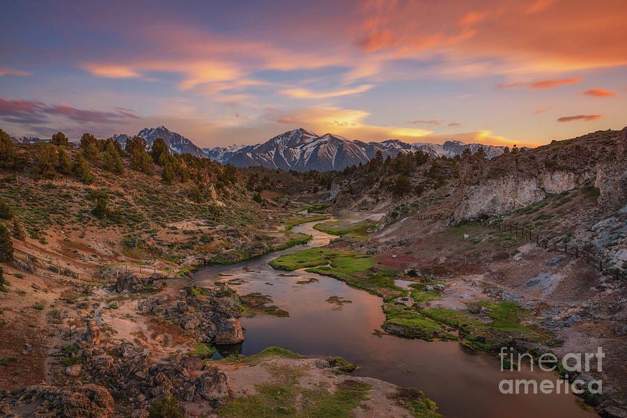 Hot Creek Overlook Sunset  by Michael Ver Sprill