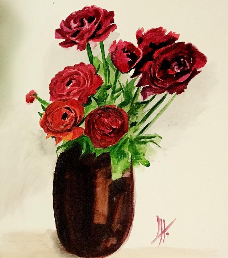 Hot Flowers Painting By Mina Khoshdeli