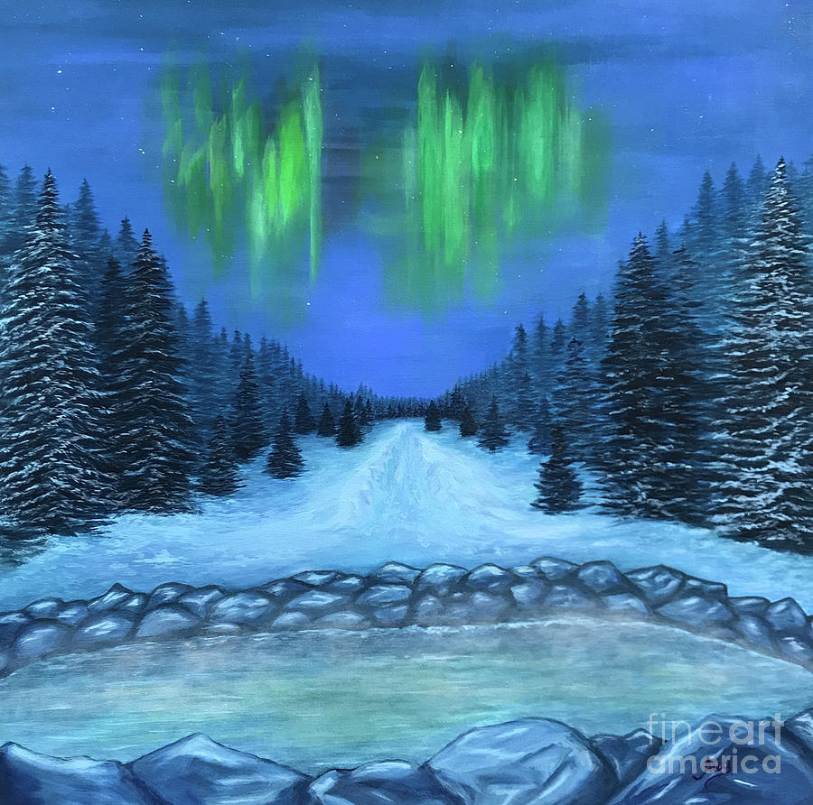 Hot Springs and Aurora Borealis by Aicy Karbstein