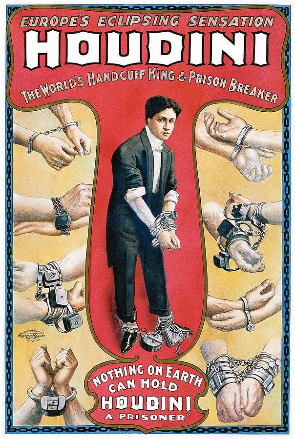 Houdini Painting - Houdini Vintage Poster, 1906 by Unknown