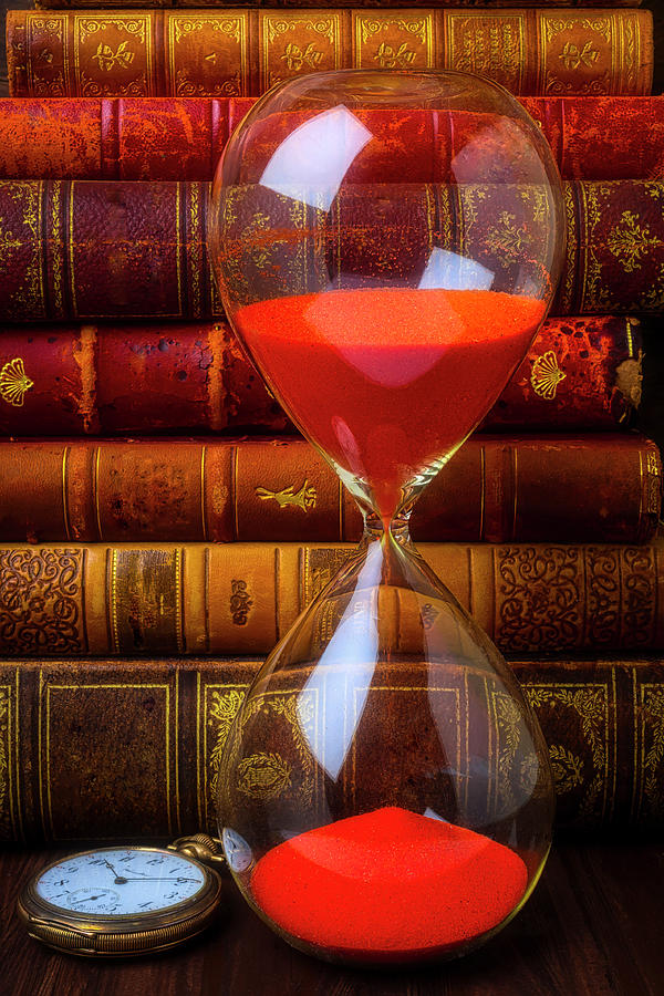 Old Photograph - Hourglass And Old Books by Garry Gay