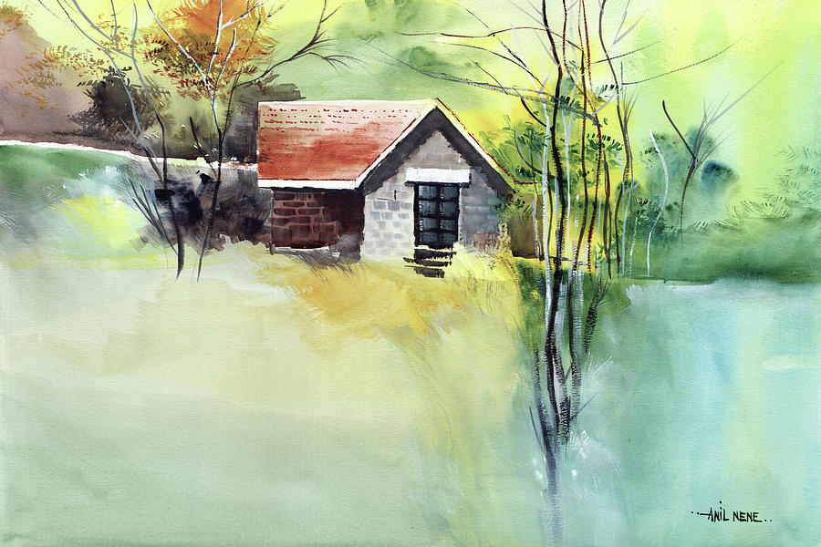 House In Farm Painting