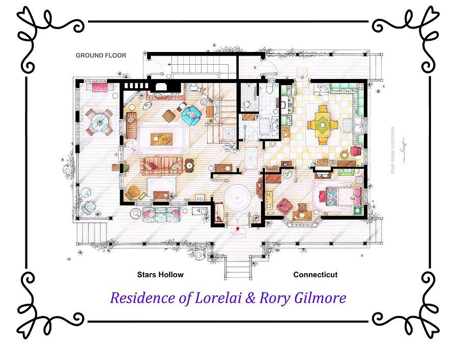 House Of Lorelai And Rory Gilmore From Gilmore Girls Ground Floor Drawing By Inaki Aliste Lizarralde