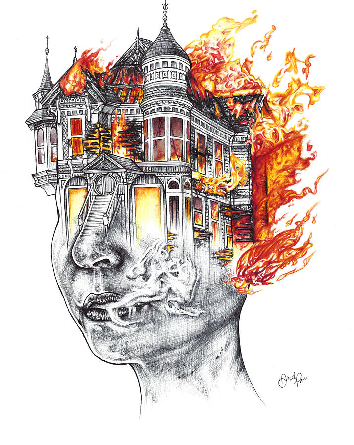 House Drawing - House on Fire by Grant Pace