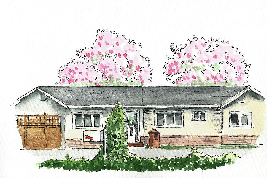 House with Magnolia Trees by Masha Batkova