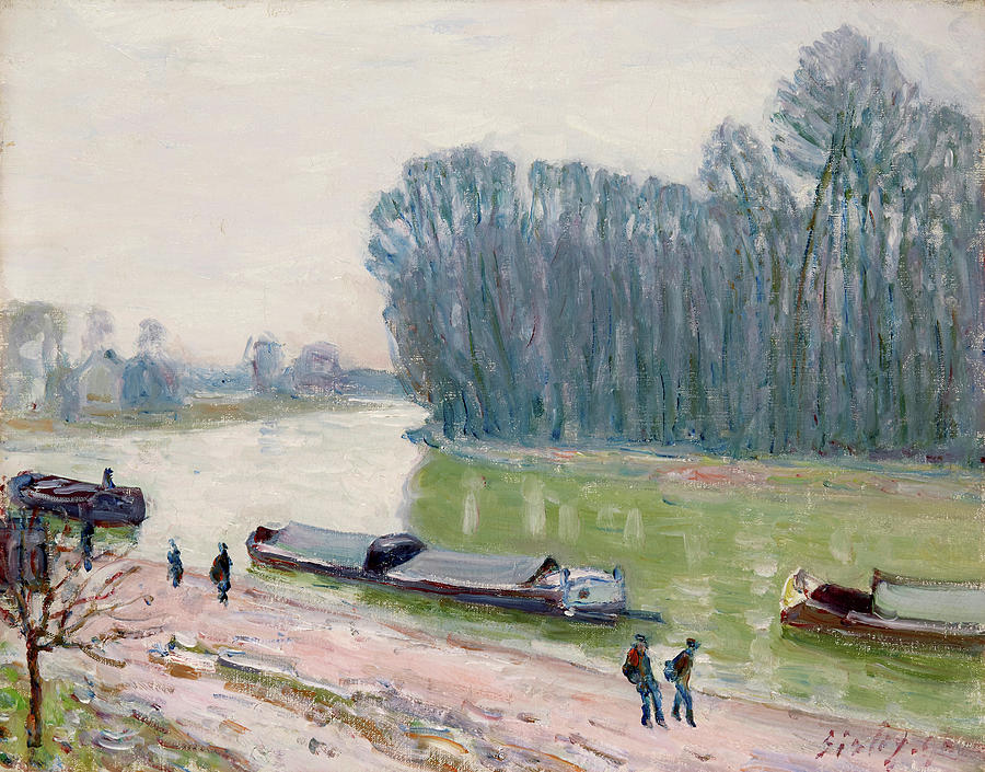 Alfred Sisley Painting - Houseboats On The River Loing by Alfred Sisley