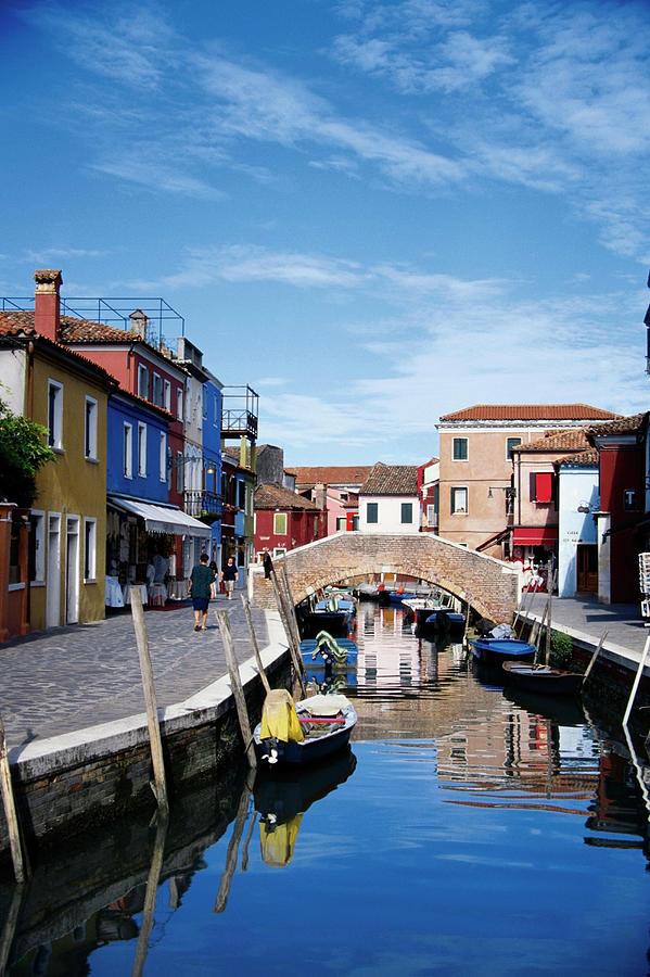 Houses Along A Canal, Burano, Venice Photograph by Medioimages/photodisc