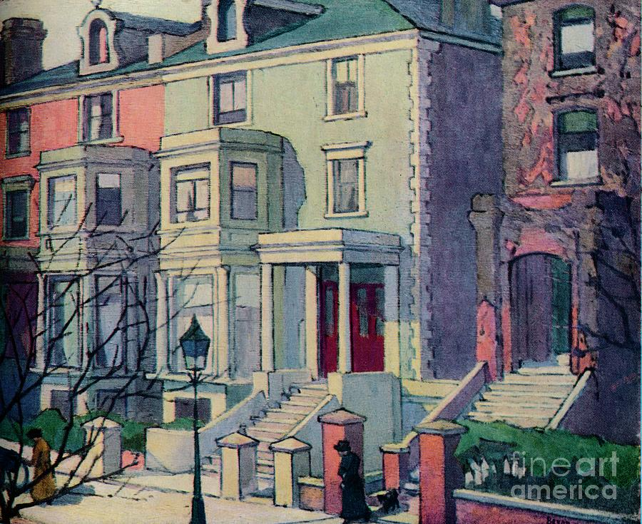 Houses In Sunlight, Hampstead, C20th Drawing by Print Collector