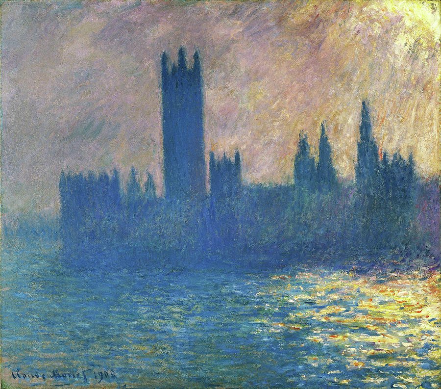 Claude Monet Painting - Houses Of Parliament, Sunlight Effect - Digital Remastered Edition by Claude Monet