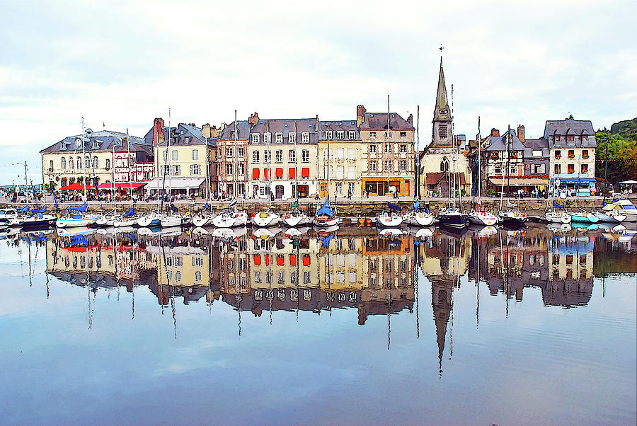 Houses Reflection In River, Honfleur Photograph by Ana Souza