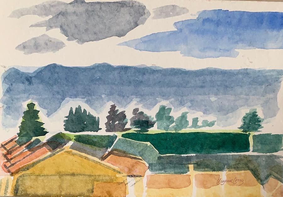 Houses, Trees, Mountains, Clouds by Suzanne Cerny