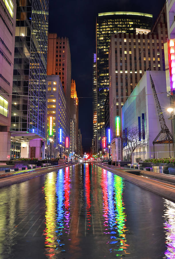 Houston Main Street Square At Night by Dan Sproul