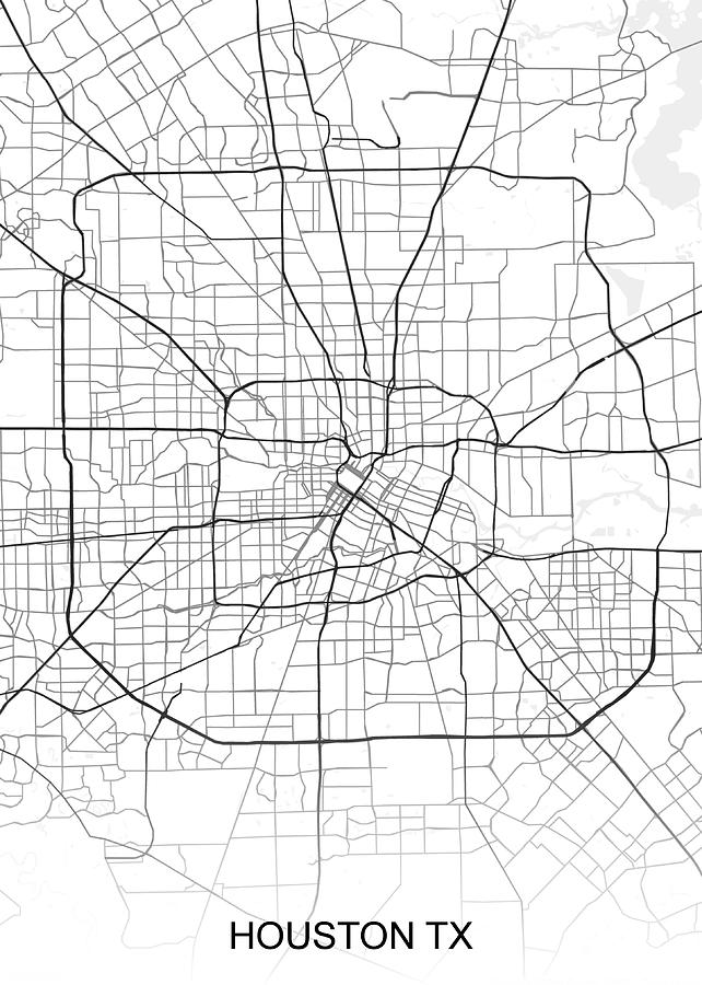 Houston Map Tx Usa Drawing By Ihab Design