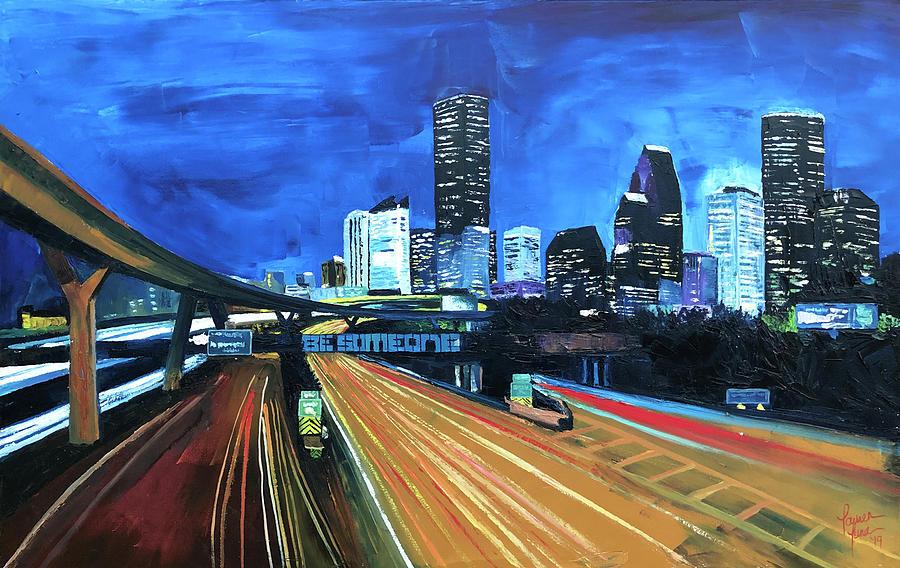 Houston Painting - Houston Night Moves by Lauren Luna