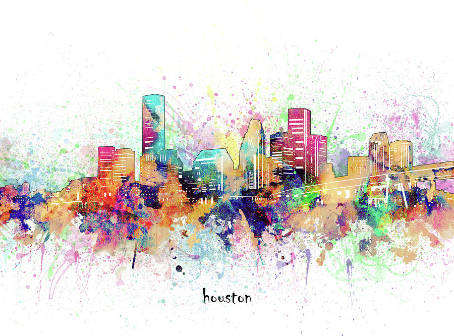 Houston Digital Art - Houston Skyline Artistic by Bekim M