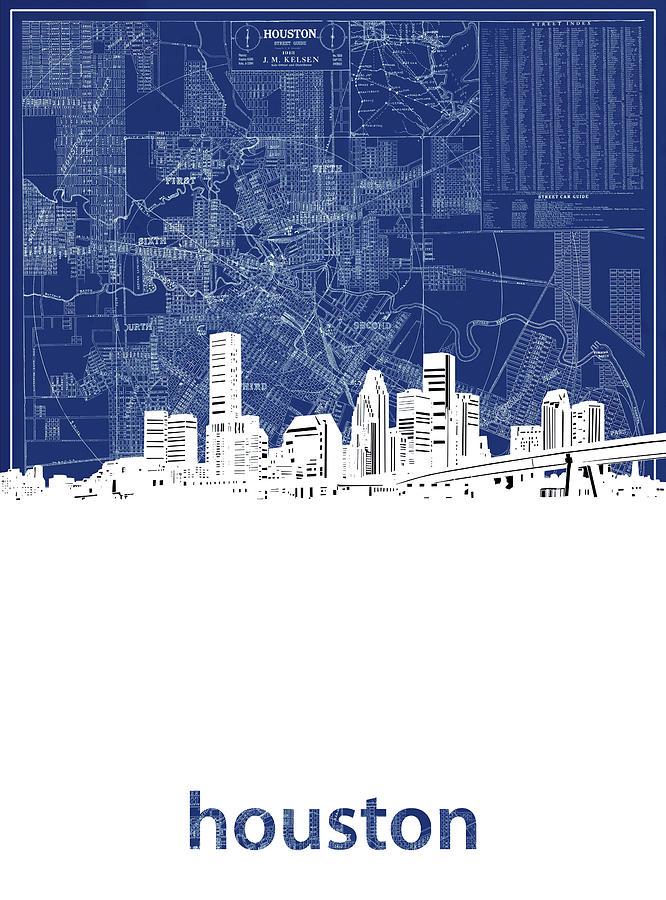 Houston Digital Art - Houston Skyline Map Blue by Bekim M