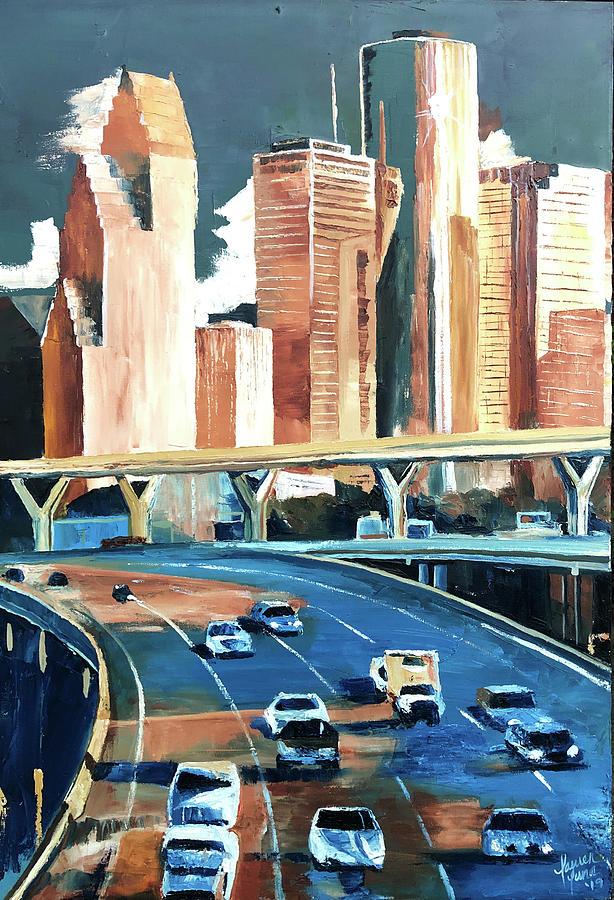 Houston Painting - Houston Space City by Lauren Luna