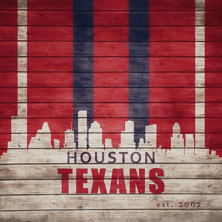 Houston Texans Skyline On Wood by Dan Sproul